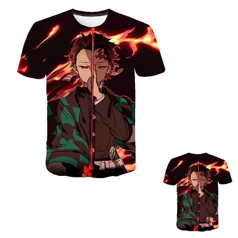 Kids Boys Devils killer T-shirts 3d Print Cosplay Japanese Ghost blade Children Summer Short Sleeve Tshirts Demon Slayer Clothes 22