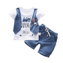 Summer Children Boys Girls Cotton Clothes Kids Bowknot T-Shirt Shorts 2pcs/Sets Toddler Fashion Clothing Sets Baby Tracksuits