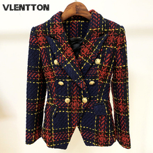 2020 Spring Autumn Vintage Plaid Tweed Wool Blazer Women's Double Breasted Lion Metal Button Jacket Coat Office Blazers Mujer