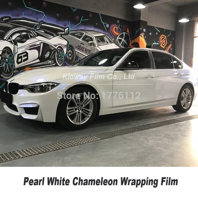 Höchste qualität Glanz Perle Weiß zu Blau VINYL Auto Wrap FILM chameleon wrapping foile Blase Freies qualität Garantie 5m/10m/18m
