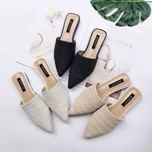 Chaussures tricoté dame d'été femmes, Babouche bout pointu demi plat, Mules, pantoufles