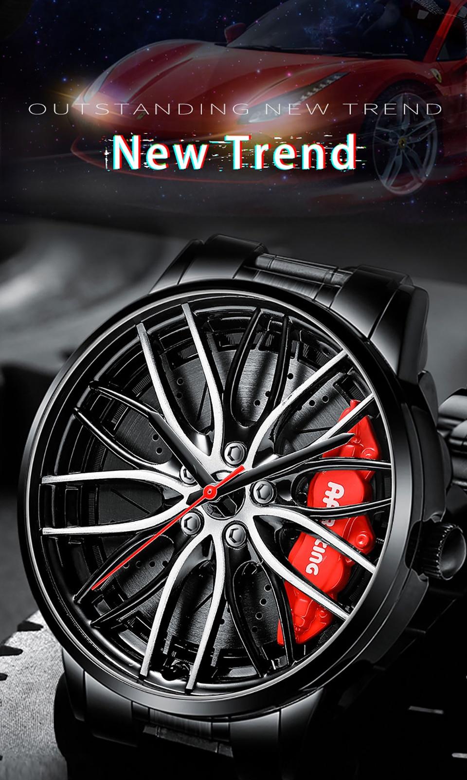NEKTOM Design Sport Car Rim Hub Men Watch Stainless Steel 19
