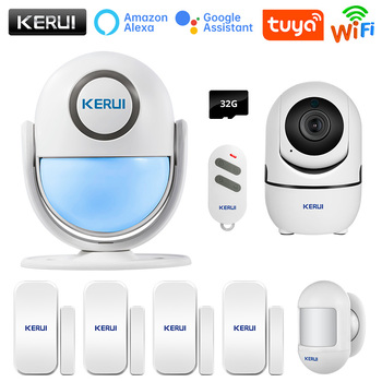 KERUI Tuya Smart Home Security WIFI Alarm System Works With Alexa 120dB Motion Detector Door Sensor Surveillance Camera 1