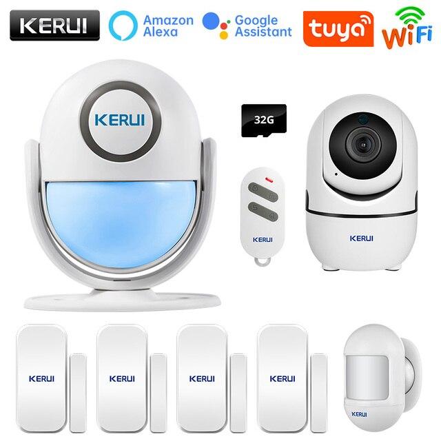 KERUI Tuya Smart Home Security WIFI Alarm System Works With Alexa 120dB Motion Detector Door Sensor Surveillance Camera 1