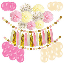 DIY Paper Pom Poms with Tissue Paper Tassel, Polka Dot Garland, Hanging Swirl Decorations and Balloon Kit Party Decorations girls pom pom detail polka dot sweater