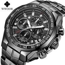 WWOOR мода военная большой часы для мужчин полный черный Спорт кварцевые часы Топ Марка роскошные нержавеющей стали водонепроницаемый наручные часы