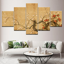 Chinese Cherry Blossoms 5 Piece Hd Wallpapers Art Canvas Print Modern Poster Modular Art Painting for Living Room Home Decor(China)