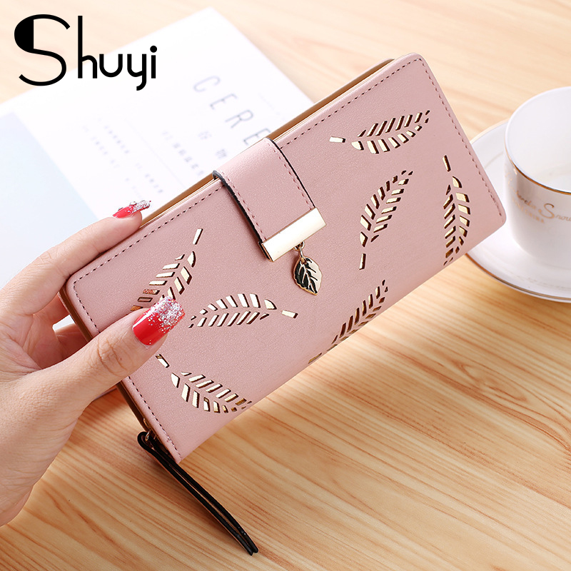 Leaves Hollow Women Wallet Soft PU Leather Women's Clutch Wallet Female Designer Wallets Coin Card Purse Card Holders Clutch