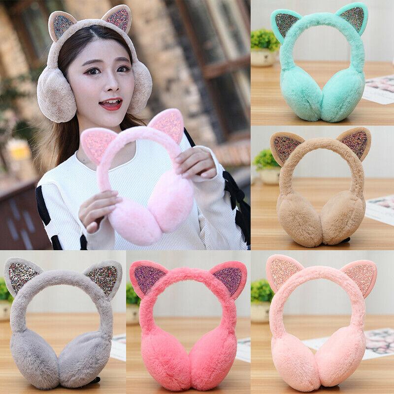 Women Girl Fur Winter Ear Warmer Earmuffs Cat Ear Muffs Earlap Glitter Sequin Earmuffs Ladies Plush Headband Warmer Outdoor