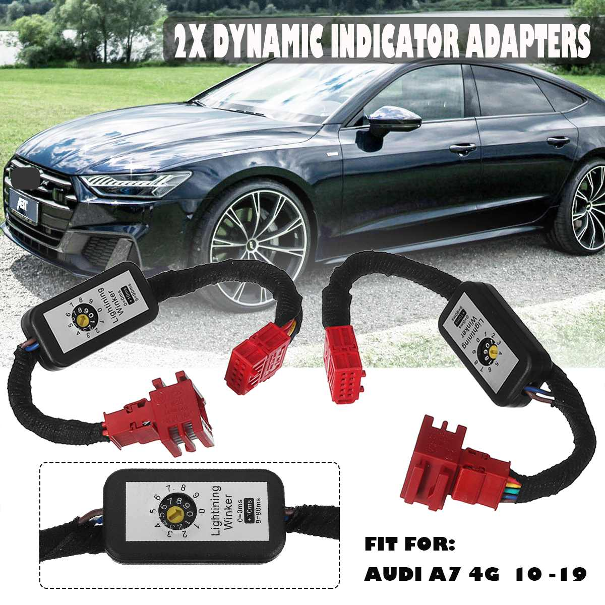 2pcs Dynamic LED Indicator Flasher Adapters Rear Lights LED Taillight Add-on Module Cable Wire Harness for Audi A7 4G 2010 -2019 image