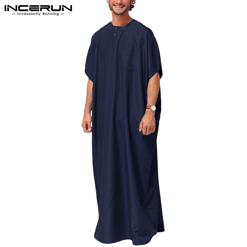 INCERUN Jubba Thobe Men Islamic Arabic Kaftan Solid Short Sleeve Loose Retro Robes Abaya Middle East Muslim Clothing Plus Size 7 3