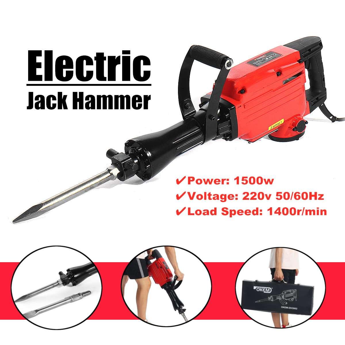 220V Electric Pick 2200W Jackhammer Commercial Grade Demolition Pickaxe Jack Hammer Concrete Drill Demolition