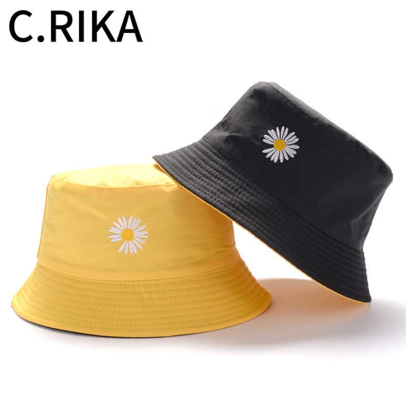 2020 erkekler kadınlar yaz GD papatya kelebek çift taraflı kova şapka Bob balıkçı şapka kızlar açık seyahat güneşlik moda panama
