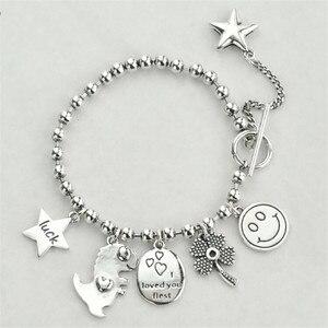 POFUNUO 925 серебряные браслеты со смайликом Модные мужские и женские браслеты унисекс с пряжкой милые студенческие браслеты
