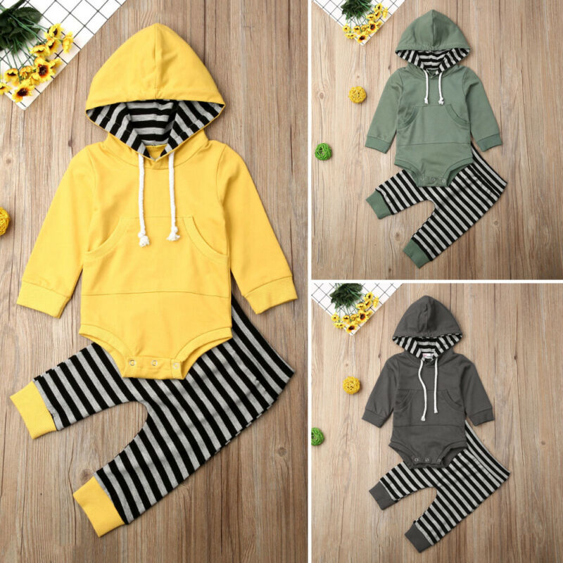 Toddler Baby Boy 0-24M Autumn Clothes Hooded Tops Romper Striped Long Pants Outfit Set