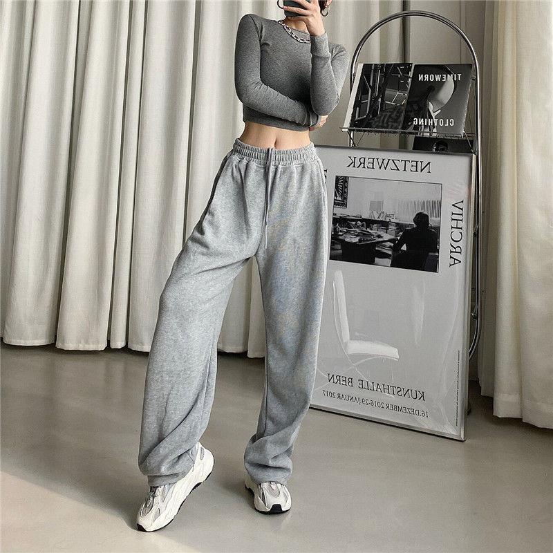 Серые спортивные брюки, женские Мешковатые шаровары, широкие штаны, спортивные брюки, свободные штаны, Джоггеры в стиле Харадзюку, женские ч...