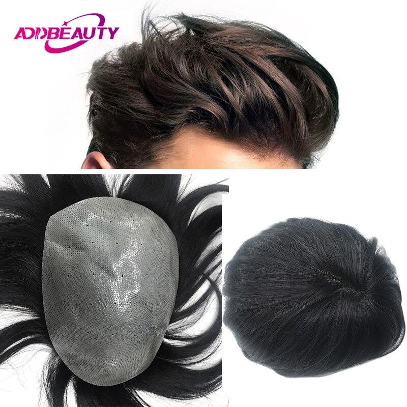 Биологический парик для головы 4-6 мм из искусственной кожи, парик из человеческих волос, индийские волосы Remy, мужской парик-волна, прямые муж...