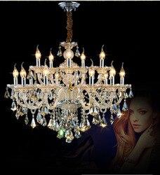 Oświetlenie Phube luksusowa świeczka kryształowe żyrandole światła K9 koniak kryształowe żyrandole Lustre światła oświetlenie + darmowa wysyłka!