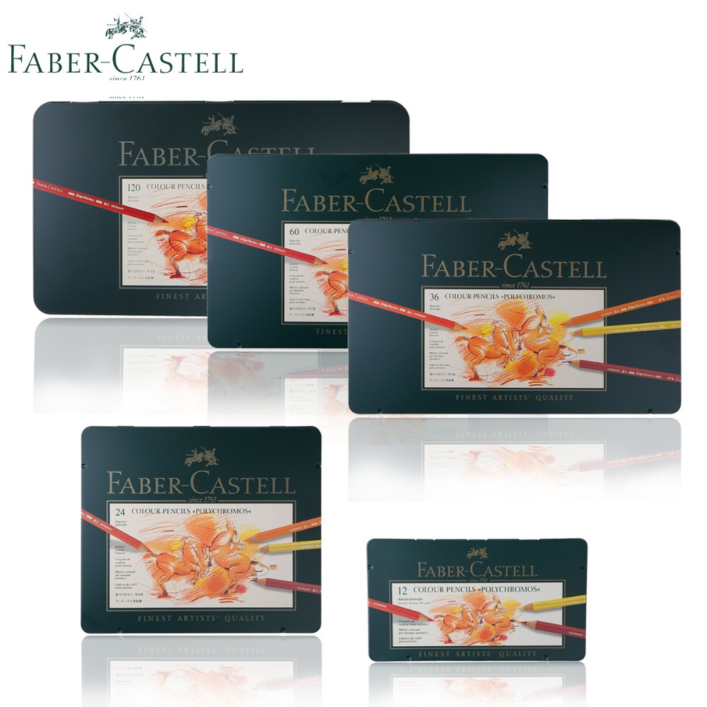Faber Castell Colour Pencil Polychromos Tin of 12 24 36 <font><b>60</b></font> <font><b>120</b></font> Finest Artists Quality Oil Colored Pastille Pencils image