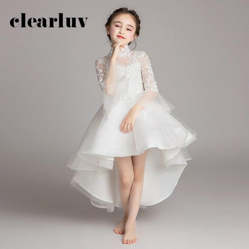 High Collar Flower Girl Dresses B049 White Long Sleeves Kids Evening Dress Short Front Long Back Wedding Dress For Girl Kids