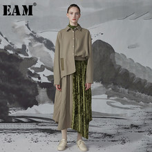 [EAM] Women Green Asymmetrical Pleated Big Size Dress New Lapel Long Sleeve Loose Fit Fashion Tide Spring Autumn 2019 1D417(China)
