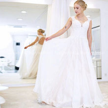 Chiffon Wedding Dress Elegant V Neck Cap Sleeves Long Beach Bridal Gown Hollow Back 2020 Robe De Mariee Boho Wedding Gown Custom(China)