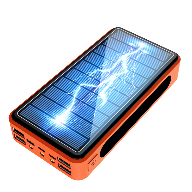 Carregador solar 50000mah 4 usb tipo c, banco de energia solar com bateria externa para xiaomi mi, iphone 11, 8 x poverbank de smartphones