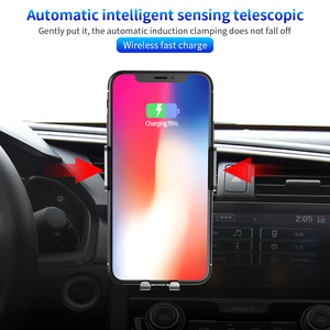 Image 2 - AQO Car Phone Holder Wireless Charger Automatic Inductive Phone Car Holder For iphone xiaomi huawei Samsung Mobile Stand EDZ 03