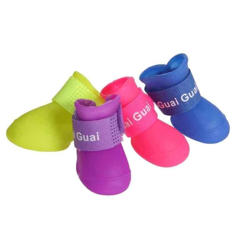 Moda evcil köpek su geçirmez botlar renkli kauçuk yağmur ayakkabıları renkli plastik köpek patik mavi gül kırmızı sarı mor siyah