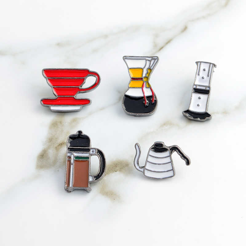 American coffee set pin AeroPress Chemex Filter cup enamel pin Brooches Shirt bag lapel pin badge Fashion jewelry Gift wholesale