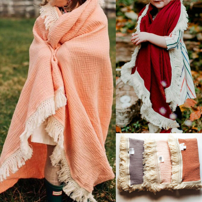 PUDCOCO Soft Baby Boy Girl Cloth Tassels Wrap Blanket Swaddling Newborn Infant Swaddle Bath Towel Headband Outfit 0-6M