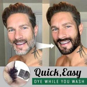 Champú para ennegrecer la barba, tinte para bigote, acondicionador para tinte de pelo gris EY669