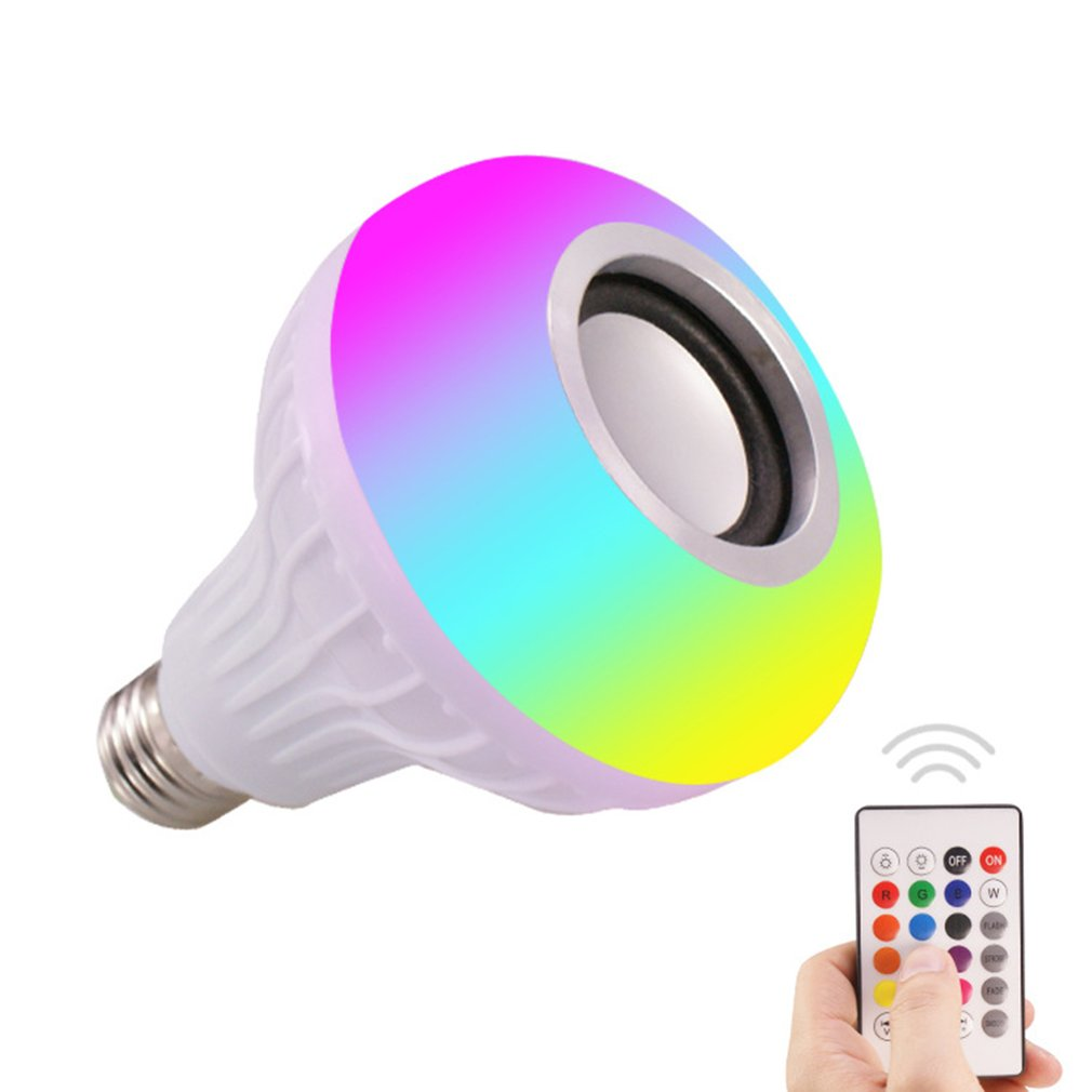 Smart Music Light Bulb Led Colorful Speaker Bulb E27 Wireless Remote Control Audio Bulb 12W 220V RGB Bulb Light Music Player New