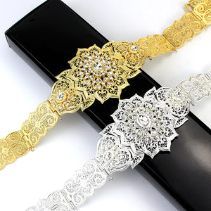 Image 2 - Sunspicems Fashion Moroccan Caftan Belt For Women Gold Silver Color Wedding Jewelry Evening Dress Crystal Link Chain Bridal Gift