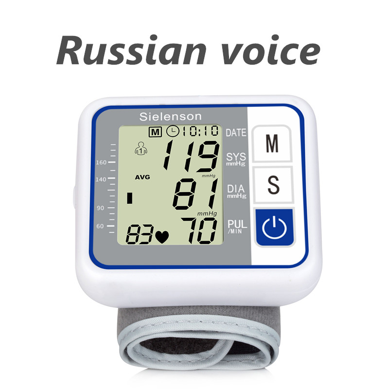 Yeni rus ses bakımı almanya çip otomatik bilek dijital kan basıncı monitörü tonometre ölçer ölçme ve nabız hızı