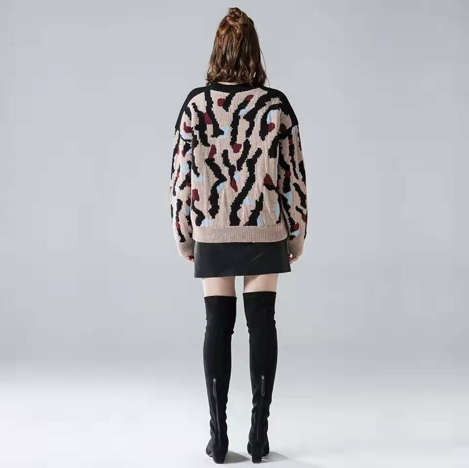 2019 Kaguster Winter Autumn Warm Leopard Office Lady Sweater Women Sweaters Thick Casual Loose Fashion Mujer Pullovers Plus Size in Pullovers from Women 39 s Clothing