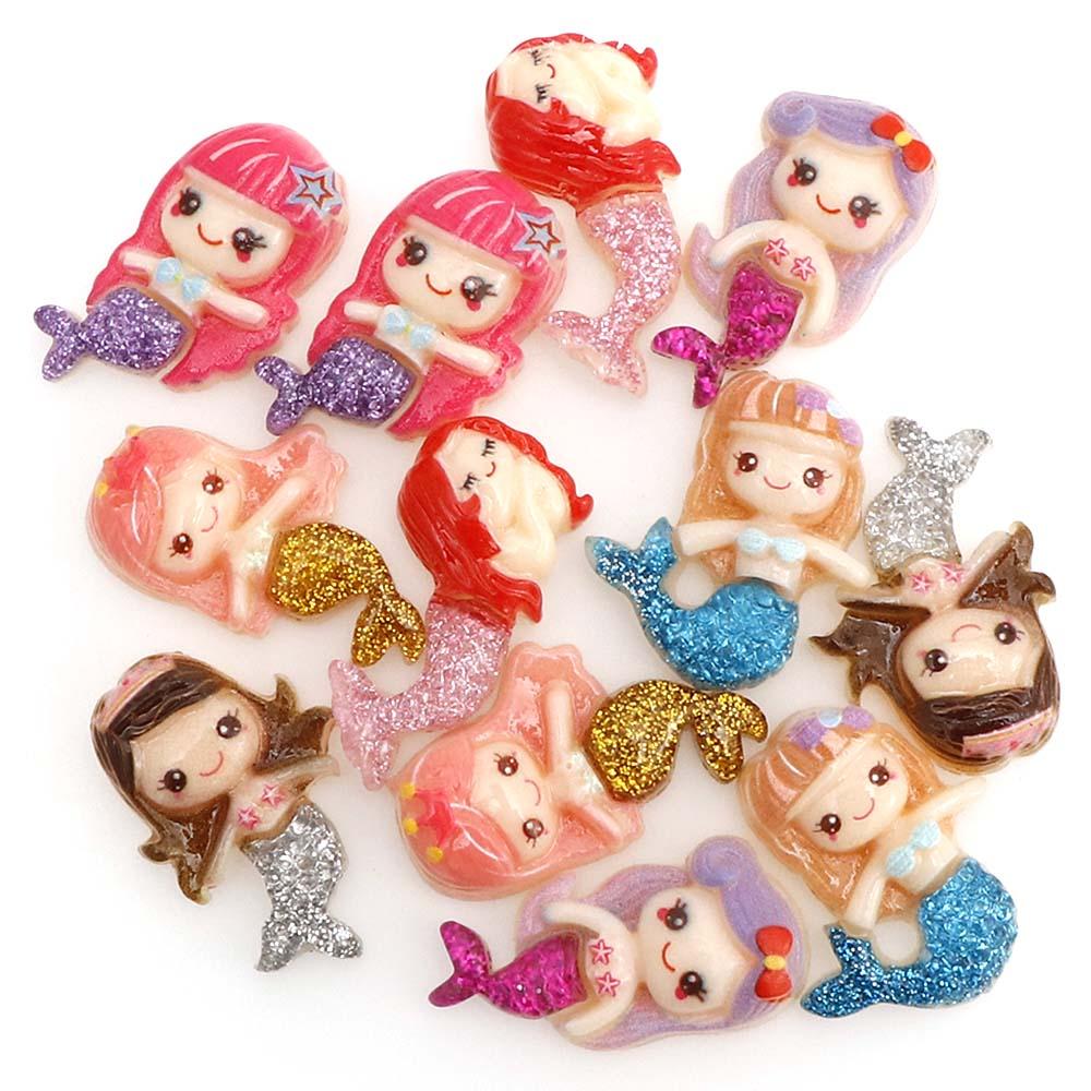 10 Pcs Colorful Kawaii Shiny Mermaid Resin Flat Bottom Resin For DIY Hair Accessories, Hair Band Accessories
