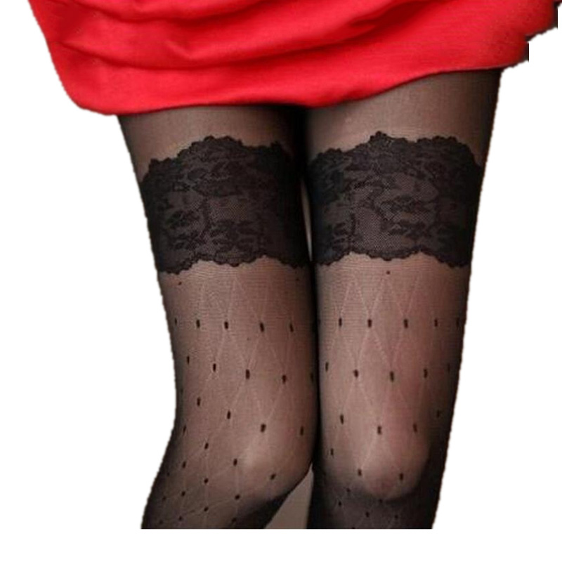 CUHAKCI Ladies Black White Long Stockings Slim With Dot Summer Women Lace Stocking Thigh High Women's Silk Stockings