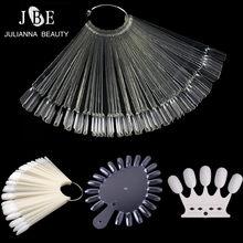 50 pçs falso falso prego prática em forma de ventilador decorado unha arte ponta polonês uv gel salão de beleza pro display gráfico ferramenta gel decoração vara