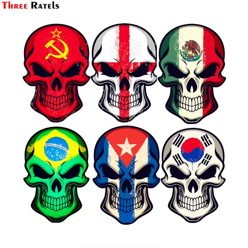 Three Ratels FTC-794# 12x17.4cm England Mexico Cuba Brazil South Korea Uni Soviet Flag Skull Car Stickers On Motorcycle Decal
