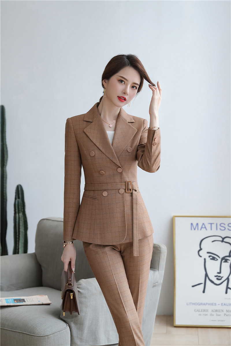 High Quality Fabric Novelty Pink Plaid Business Suits With Jackets and Pencil Pants Ladies Work Wear Blazers Pantsuits with Belt 23