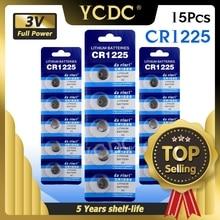 YCDC 15pcs LM1225 BR1225 ECR1225 KCR1225 Sostituzione Della Batteria 3 V Batterie Al Litio Per Calcolatrice Orologio CR1225 Giocattolo Orologio