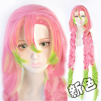 Japanese Anime Demon Slayer: Kimetsu no Yaiba women Kanroji Mitsuri Cosplay Wig Colorful Hair Braids Hair Costumes With Wig Cap