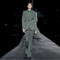 2020 Autumn Show Style Collection Women Two Piece Suit Green Plaid Formal Party Set Celebrate Outfit Wholesale Online