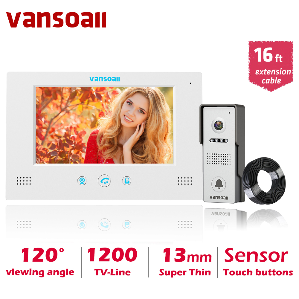 VANSOALL  7'' TFT LCD Wired Video Door Phone Video Intercom  System With Waterproof Outdoor Doorbell And 5m Extension  Cable