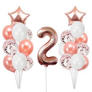 Image 5 - 21pcs מספר 2 רדיד בלונים שמח מסיבת יום הולדת קישוטי ילדה ילד 2nd בלוני 2 שנים שני אספקת יום הולדת
