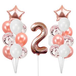 Image 5 - 21pcs Number 2 Foil Balloons Happy Birthday Party Decorations Girl Boy 2nd Balloons 2 Years Old Second Birthday Supplies
