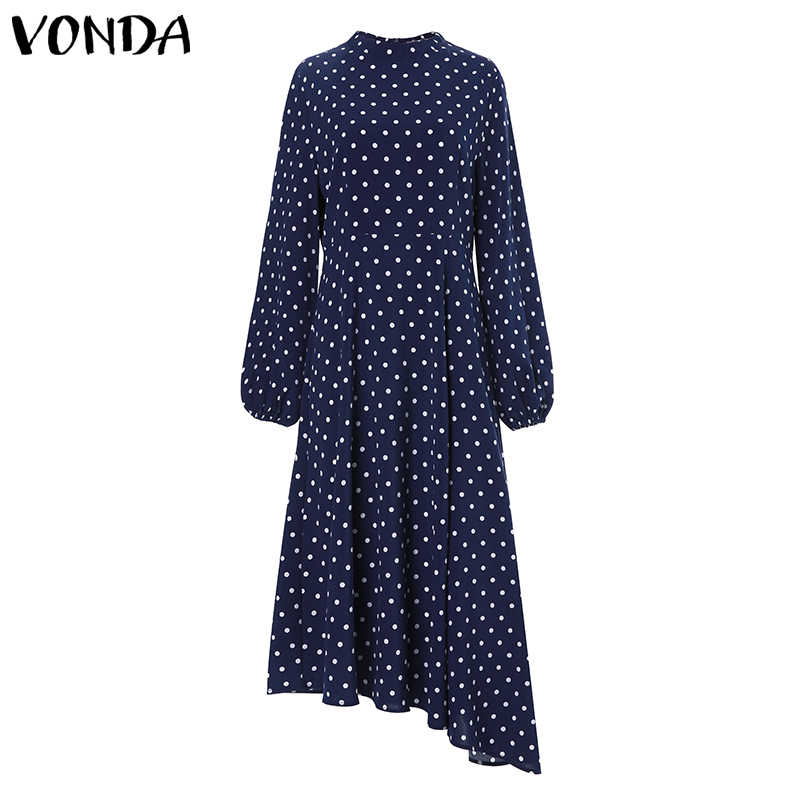 VONDA 2020 Office Ladies Dress 보헤미안 Sundress 여성 빈티지 긴 소매 도트 프린트 파티 롱 드레스 Vestido Femininas S-5XL