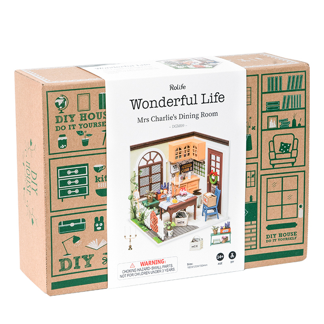 Robotime Rolife DIY Dollhouse Wooden Miniature House For Birthday Gift DGM09 Mrs Charlie's Dining Room