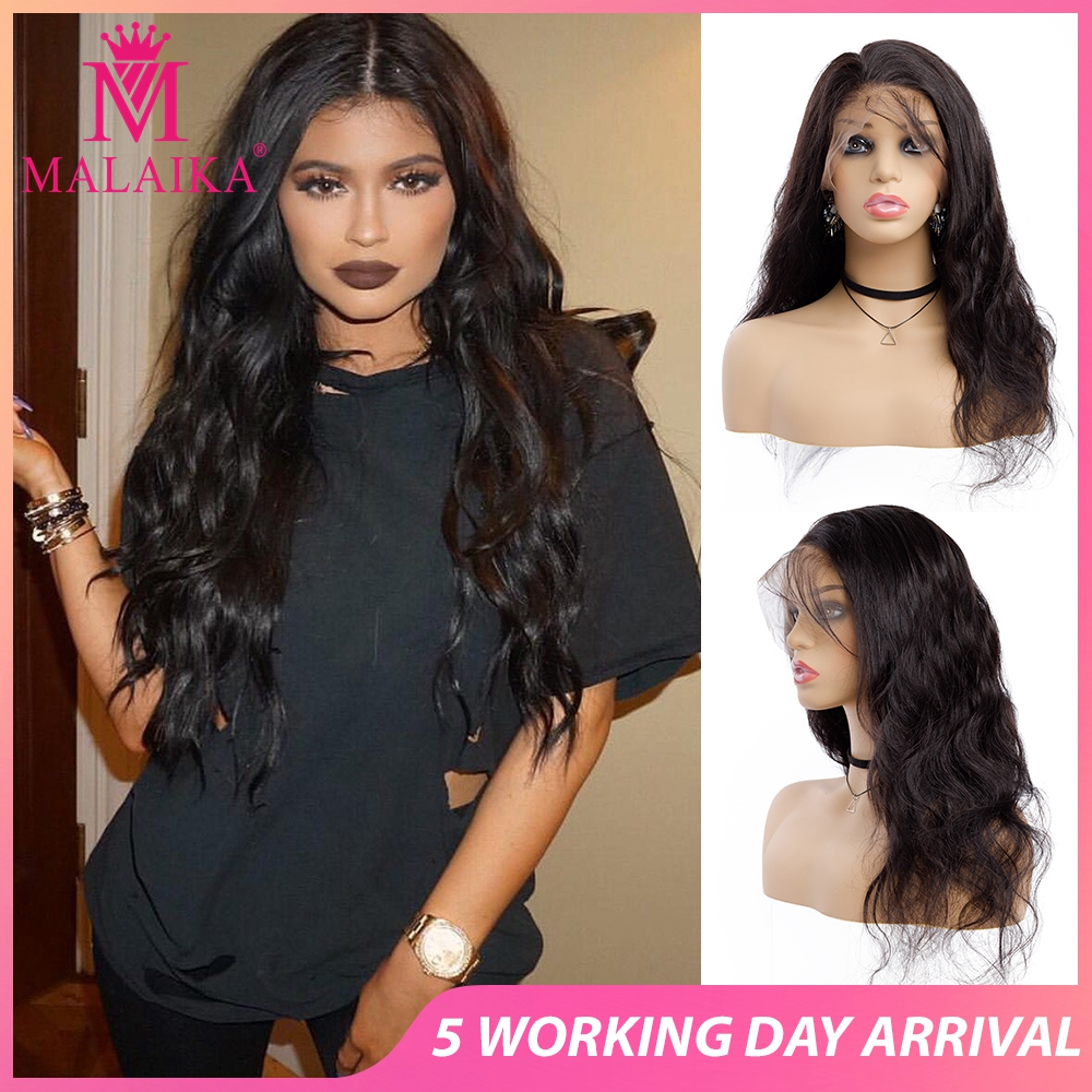 MALAIKA Human Hair Wigs Lace Wig Full Lace Body Wave Wigs Pre Plucked With Indian Baby Hair Wig For Christmas